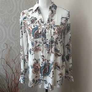 Chico's silky Lace up Floral Blouse Size 0